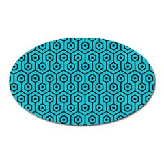 Hexagon1 Black Marble & Turquoise Colored Pencil Oval Magnet by trendistuff