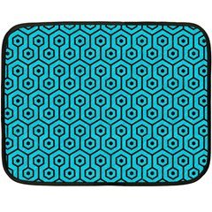 Hexagon1 Black Marble & Turquoise Colored Pencil Fleece Blanket (mini) by trendistuff