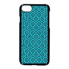 Hexagon1 Black Marble & Turquoise Colored Pencil Apple Iphone 8 Seamless Case (black)
