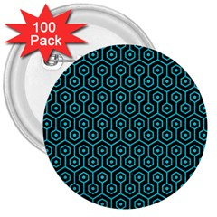 Hexagon1 Black Marble & Turquoise Colored Pencil (r) 3  Buttons (100 Pack)  by trendistuff