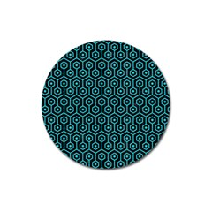 Hexagon1 Black Marble & Turquoise Colored Pencil (r) Magnet 3  (round)