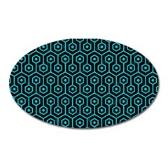 Hexagon1 Black Marble & Turquoise Colored Pencil (r) Oval Magnet by trendistuff