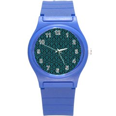 Hexagon1 Black Marble & Turquoise Colored Pencil (r) Round Plastic Sport Watch (s) by trendistuff