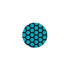 Hexagon2 Black Marble & Turquoise Colored Pencil 1  Mini Magnets by trendistuff