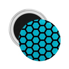 Hexagon2 Black Marble & Turquoise Colored Pencil 2 25  Magnets by trendistuff
