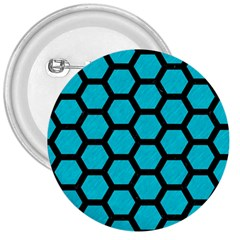 Hexagon2 Black Marble & Turquoise Colored Pencil 3  Buttons by trendistuff