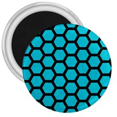 Hexagon2 Black Marble & Turquoise Colored Pencil 3  Magnets by trendistuff