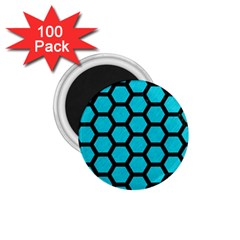 Hexagon2 Black Marble & Turquoise Colored Pencil 1 75  Magnets (100 Pack)  by trendistuff