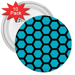 Hexagon2 Black Marble & Turquoise Colored Pencil 3  Buttons (10 Pack)  by trendistuff
