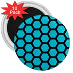 HEXAGON2 BLACK MARBLE & TURQUOISE COLORED PENCIL 3  Magnets (10 pack)  Front