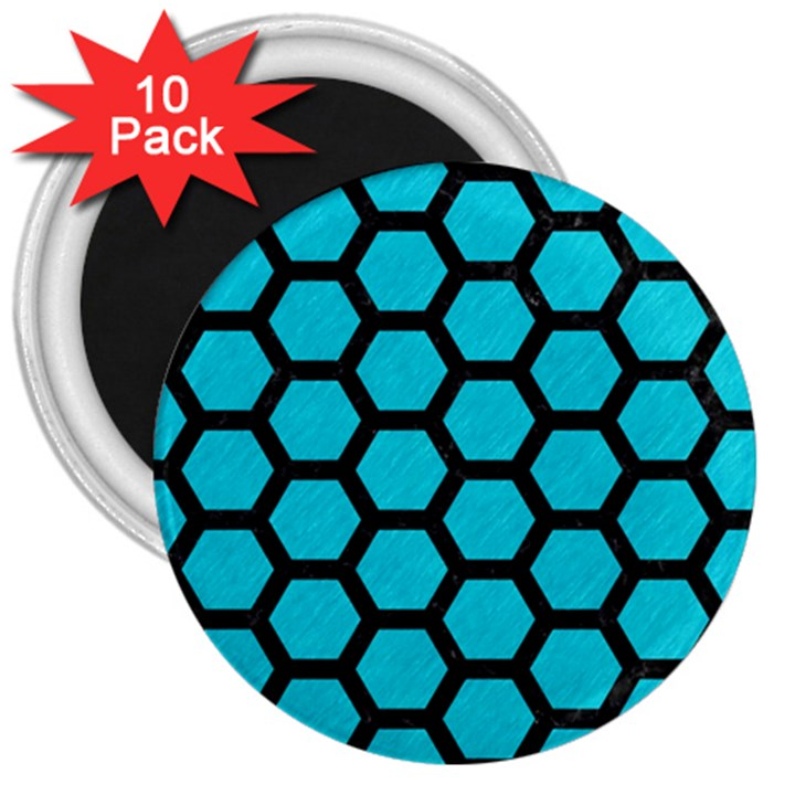 HEXAGON2 BLACK MARBLE & TURQUOISE COLORED PENCIL 3  Magnets (10 pack)
