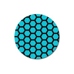 Hexagon2 Black Marble & Turquoise Colored Pencil Magnet 3  (round) by trendistuff