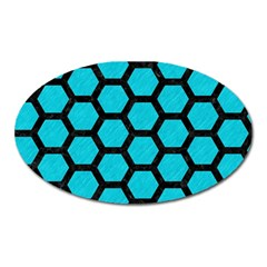 Hexagon2 Black Marble & Turquoise Colored Pencil Oval Magnet by trendistuff