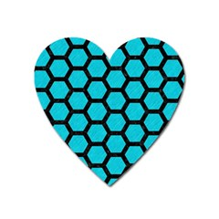 Hexagon2 Black Marble & Turquoise Colored Pencil Heart Magnet by trendistuff