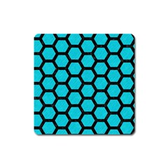 Hexagon2 Black Marble & Turquoise Colored Pencil Square Magnet by trendistuff