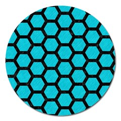 Hexagon2 Black Marble & Turquoise Colored Pencil Magnet 5  (round) by trendistuff