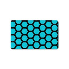Hexagon2 Black Marble & Turquoise Colored Pencil Magnet (name Card) by trendistuff