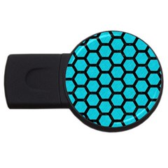 Hexagon2 Black Marble & Turquoise Colored Pencil Usb Flash Drive Round (2 Gb) by trendistuff