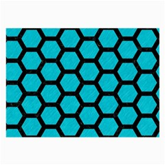 Hexagon2 Black Marble & Turquoise Colored Pencil Large Glasses Cloth (2 Side) by trendistuff