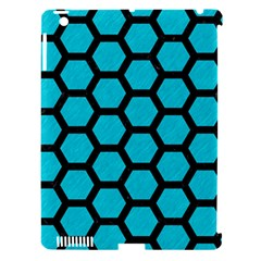 Hexagon2 Black Marble & Turquoise Colored Pencil Apple Ipad 3/4 Hardshell Case (compatible With Smart Cover) by trendistuff