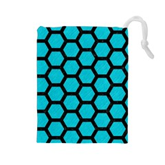 Hexagon2 Black Marble & Turquoise Colored Pencil Drawstring Pouches (large)  by trendistuff