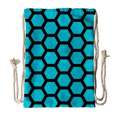 Hexagon2 Black Marble & Turquoise Colored Pencil Drawstring Bag (large) by trendistuff