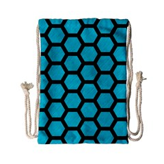 Hexagon2 Black Marble & Turquoise Colored Pencil Drawstring Bag (small) by trendistuff
