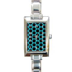 HEXAGON2 BLACK MARBLE & TURQUOISE COLORED PENCIL (R) Rectangle Italian Charm Watch