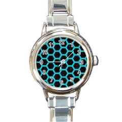 HEXAGON2 BLACK MARBLE & TURQUOISE COLORED PENCIL (R) Round Italian Charm Watch