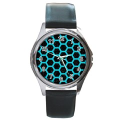 HEXAGON2 BLACK MARBLE & TURQUOISE COLORED PENCIL (R) Round Metal Watch