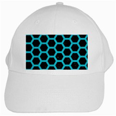 HEXAGON2 BLACK MARBLE & TURQUOISE COLORED PENCIL (R) White Cap