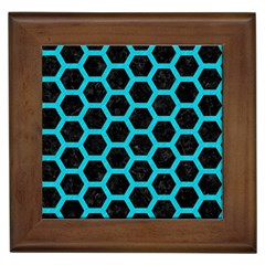 Hexagon2 Black Marble & Turquoise Colored Pencil (r) Framed Tiles by trendistuff