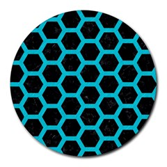 HEXAGON2 BLACK MARBLE & TURQUOISE COLORED PENCIL (R) Round Mousepads