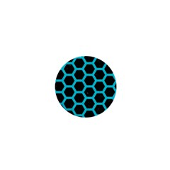 Hexagon2 Black Marble & Turquoise Colored Pencil (r) 1  Mini Magnets by trendistuff