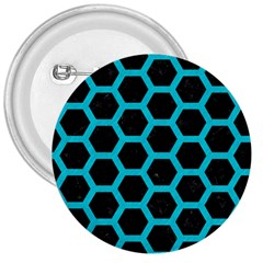 Hexagon2 Black Marble & Turquoise Colored Pencil (r) 3  Buttons by trendistuff