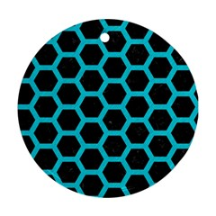 HEXAGON2 BLACK MARBLE & TURQUOISE COLORED PENCIL (R) Ornament (Round)