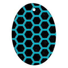 HEXAGON2 BLACK MARBLE & TURQUOISE COLORED PENCIL (R) Ornament (Oval)