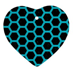 HEXAGON2 BLACK MARBLE & TURQUOISE COLORED PENCIL (R) Ornament (Heart)