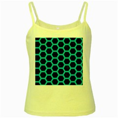 HEXAGON2 BLACK MARBLE & TURQUOISE COLORED PENCIL (R) Yellow Spaghetti Tank