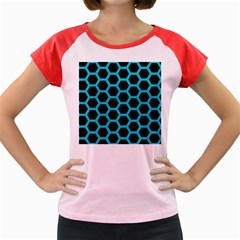 HEXAGON2 BLACK MARBLE & TURQUOISE COLORED PENCIL (R) Women s Cap Sleeve T-Shirt