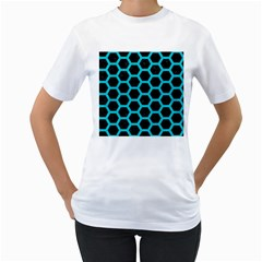 HEXAGON2 BLACK MARBLE & TURQUOISE COLORED PENCIL (R) Women s T-Shirt (White) (Two Sided)