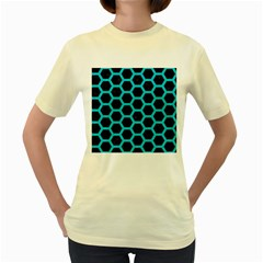 HEXAGON2 BLACK MARBLE & TURQUOISE COLORED PENCIL (R) Women s Yellow T-Shirt