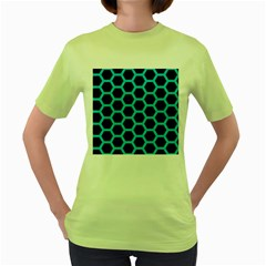 HEXAGON2 BLACK MARBLE & TURQUOISE COLORED PENCIL (R) Women s Green T-Shirt