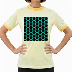 HEXAGON2 BLACK MARBLE & TURQUOISE COLORED PENCIL (R) Women s Fitted Ringer T-Shirts