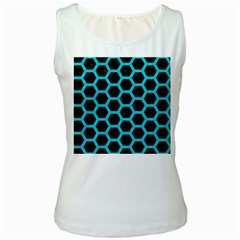 HEXAGON2 BLACK MARBLE & TURQUOISE COLORED PENCIL (R) Women s White Tank Top