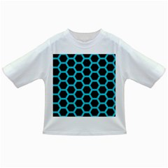 HEXAGON2 BLACK MARBLE & TURQUOISE COLORED PENCIL (R) Infant/Toddler T-Shirts