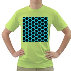 HEXAGON2 BLACK MARBLE & TURQUOISE COLORED PENCIL (R) Green T-Shirt