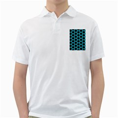 HEXAGON2 BLACK MARBLE & TURQUOISE COLORED PENCIL (R) Golf Shirts