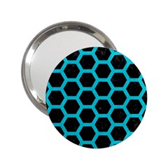 HEXAGON2 BLACK MARBLE & TURQUOISE COLORED PENCIL (R) 2.25  Handbag Mirrors