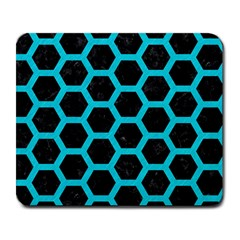 HEXAGON2 BLACK MARBLE & TURQUOISE COLORED PENCIL (R) Large Mousepads